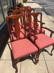 Set Of Six Harden Queen Anne Style Solid Cherry Chairs....2 Arm, 4 Sides
