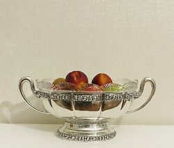 Antique Exquisite Large Oval Swedish Silver Center Piece With Cut Crystal Liner