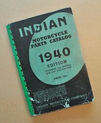 Original 1936-1940 Indian Motorcycle Chief Scout Four Parts Catalog Manual Book