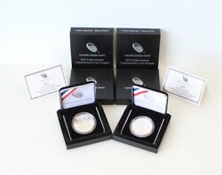 Two 2013 5 Star Generals Silver Dollar Us Mint 1 Coins Proof Unc W/box Andcoa Lot
