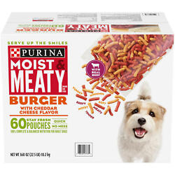 Purina Moist And Meaty Dog Food, Burger With Cheddar Cheese Flavor 6 Oz., 60 Ct.