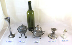 2 Candlesticks 2 Sugar Bowls And A Vase In Metal Silver Plated Old Vintage X13