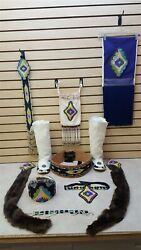 Nice 12 Piece Cut Beaded Native American Indian Crown, Moccasins, And Beaded Set