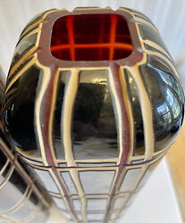 Pair 13.75 Antique Bohemian Cased Black Cream Cut To Ruby Red Blown Glass Vase