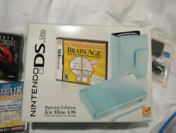 Brand New Special Edition Nintendo Ds Lite - Ice Blue W/brain Age Game And More