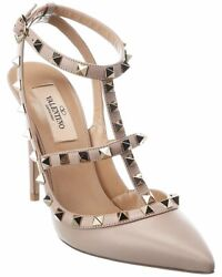 Valentino Rockstud Caged 100 Leather Ankle Strap Pump Womenand039s 38