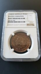 Australia - One 1 Penny 1948 M Coin - Mint Error Lamination - Ngc Ms64 Rb