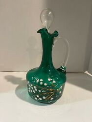 Antique Mosergreen Glass Decanter W Stopper And Clear Applied Handle