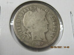90 Silver 1902 Barber / Liberty Head Dime No International Sales U.s. Only