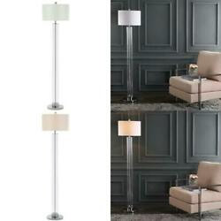 Lovato 64 In. Clear Glass Floor Lamp With Off-white Shade