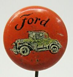 Early Vintage Ford Car Small Tin Litho Pinback Button David Cook Publishing