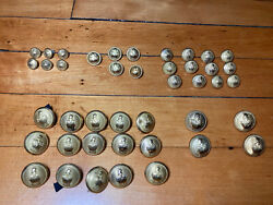 Lot 42 Vintage Antique French Military Engineer Uniform Helmet Gold Tone Buttons