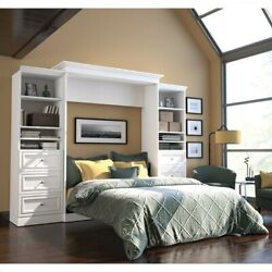 Atlin Designs 115and039and039 Queen Wall Bed With 2 Piece 6 Drawer Storage In White