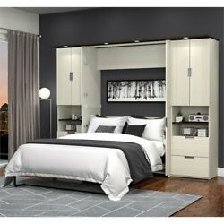 Atlin Designs 3 Piece Full 2 Storage Wall Bed Set In White Chocolate