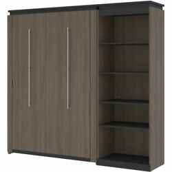 Atlin Designs 89 Full Murphy Bed With Bookcase In Bark Gray