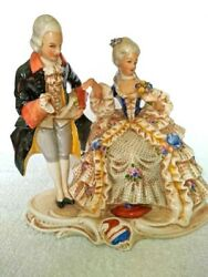 Antique German Porcelain Figurine Cavalier With Lady Couple Grafenthal Marked