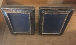 Pair Of Antique English Sterling Silver Picture Frames 4.5andrdquo X 3.5andrdquo
