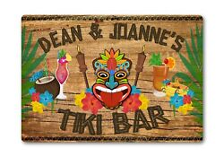 Personalised Tiki Bar Sign Metal Plaque Cocktail Tropical Home Pub Outdoor Beach