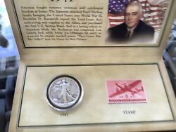 1041 Historic Walking Liberty Half Dollar Stamp And Coin Collection Set Sealed