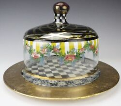 Mackenzie Childs Hand-painted Glass Dome And Courtly Check Charger