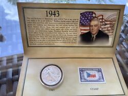 1043 Historic Walking Liberty Half Dollar Stamp And Coin Collection Set Sealed