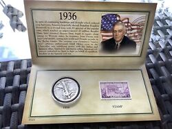 1036 Historic Walking Liberty Half Dollar Stamp And Coin Collection Set Sealed