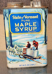 1950s Vintage State Of Vermont Maple Syrup 2 Quart Tin Can Winter Scene