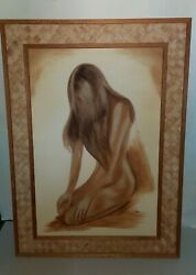 Vintage 1981 Nude Woman Large Oil Painting On Canvas Signed Marti