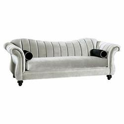 Wooden Sofa With Single Seat Cushion And Rolled Arms Silver