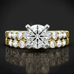 1.10 Ct Round Cut Real Diamond Bridal Ring Set 14k Solid Yellow Gold Size 6 7 8