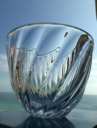 New In Box Art Glass Steuben Feather Bowl Rare Crystal Ornamental Centerpiece