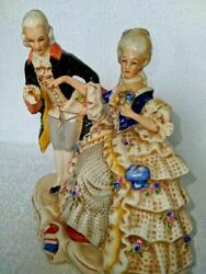 Old Porcelain Figurine Cavalier With Lady Couple Grafenthal Germany Marked Rare