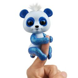 Wowwee Fingerlings Glitter Panda - Archie Blue - Interactive Collectible Ba...