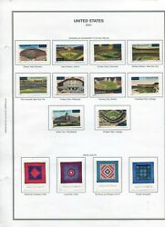 Stamps From 2001 Baseball Filelds Quilts Set Mounted On Harris Album Page
