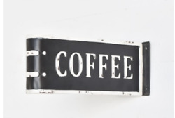 New Retro Vintage Cafe Black White TWO SIDED COFFEE SIGN Metal Wall Hanging