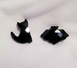 Crystal Halloween Black Cat And Bat Magnets New In Open Box