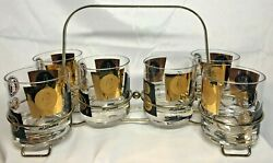 Vintage Cera 6 Black Gold Coin Low Ball Mcm Mid Century Bar Glasses W Caddy Rare