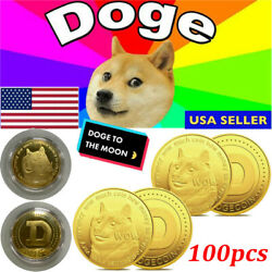 100pc Dogecoin Commemorative Gold Plated Doge Coin Limited Edition Collectible