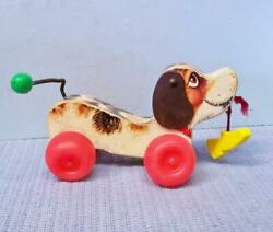 Fisher Price Little Snoopy Pull Toy Vintage F P Wood Dog And Plastic Shoe 1968