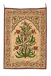 Hand Embroidered Textile Décor Wall Art Hanging Tapestry Vintage 4'6 X 3'6