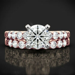 1.10 Ct Round Cut Real Diamond Bridal Band Set 14k Solid Rose Gold Size 6 7 8 9