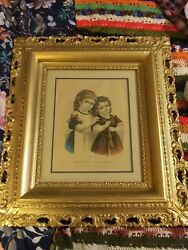 1877 By Currier And Ives Mamaand039s Darling Original Lithograph