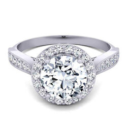 Real Diamond Engagement Ring Round Cut 0.80 Ct 14k Solid White Gold Size 5.5 6 7