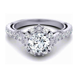 Round Cut 1.00 Ct Real Diamond Engagement Ring 14k Solid White Gold Size 5 6 7 8