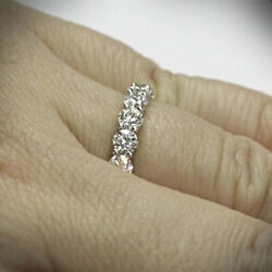0.90 Ct Round Cut Real Diamond Engagement 14k Solid White Gold Eternity Bands