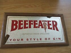 Vintage Beefeater Gin Framed Mirror Wall Bar Picture Mirrored Decor Sign
