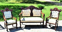 Antique Mahogany 3pc Carved Facial Image White Parlor Set Loveseat And 2 Chairs
