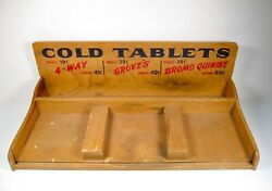 Vintage 4-way Groveand039s Bromo Quinine Cold Tablets Wood Display General Store Case