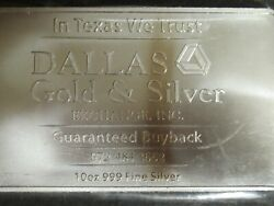 10 Troy Oz Fine .999 Silver Bar Dallas Gold And Silver Exchange 'come And Take It'1