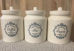 New French Country Farmhouse Blue Antique Shoppe Coffee Tea Sugar Canister Set